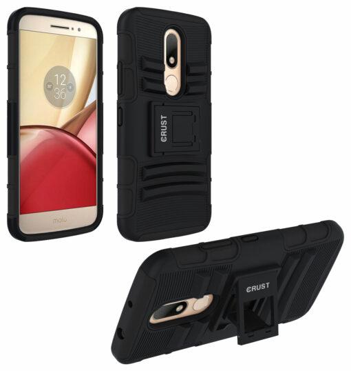 Crust Armor Motorola Moto M Back Cover Case - Black