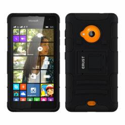 Crust Armor Microsoft Lumia 535 Dual SIM, Nokia Lumia 535 Back Cover Case - Black