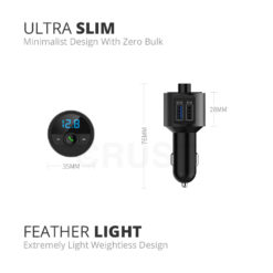 Crust Car Bluetooth FM Transmitter with QC 3.0 Dual USB Fast Car Charger