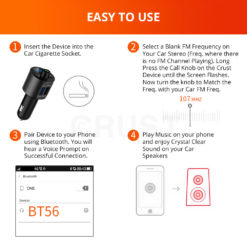 Crust Car Bluetooth FM Transmitter with QC 3.0 Dual USB Fast Car Charger