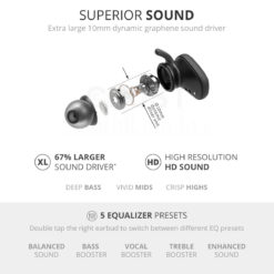 Crust Pulse Truly Wireless Earbuds with 10mm XL Sound Drivers & Triple Secure Fit