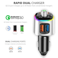 Crust Car Bluetooth FM Transmitter with Bluetooth 5.0, QC 3.0 Dual USB Fast Car Charger, 7 Colour LED Lights, USB / MicroSD Card Support & Siri / Google Assistant Support