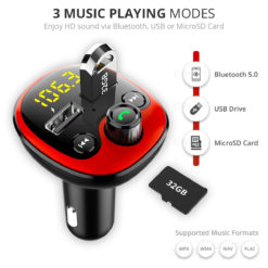 Crust Car Bluetooth FM Transmitter with Dual USB Fast Car Charger - (Red/Black)